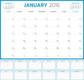 Calendar Planner 2016. Vector Design Template. Set of 12 Months. Week Starts Sunday