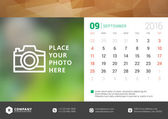 Desk Calendar 2016 Vector Design Template. Week Starts Sunday