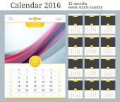 Wall Calendar 2016. Vector Template with Place for Photo. 12 Months. Week Starts Sunday.