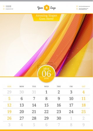 Wall Calendar 2016. June. Vector Template with Abstract Background. Week Starts Sunday