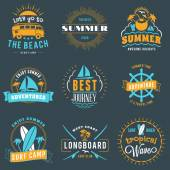 Summer Holidays Design Elements Set of Hipster Vintage Logotypes and Badges in Three Colors on Dark Background