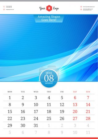 Wall Calendar 2016. August. Vector Template with Abstract Background. Week Starts Monday