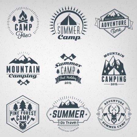 Summer Holidays Design Elements. Set of Hipster Vintage Logotypes and Badges