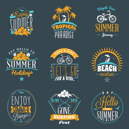 Set of Summer Holidays Badges. Hipster Vintage Logotypes and Design Elements