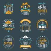 Set of Summer Holidays Badges Hipster Vintage Logotypes and Design Elements