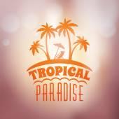 Vintage Hipster Summer Holidays Label or Badge Vector Design Element on Coloful Summer Background