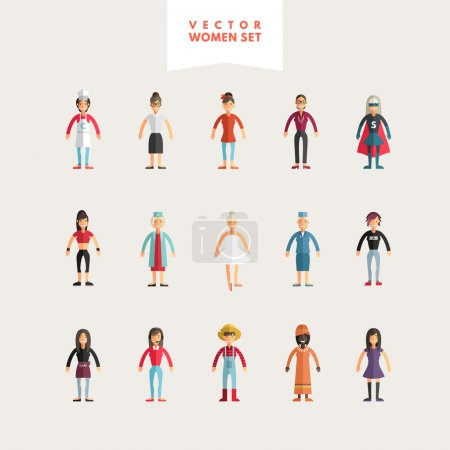 Set of Flat Design Professional People Characters. Women Set. Cook, Teacher, Superwoman, Doctor, Dancer, Rocker, Waitress, Farmer