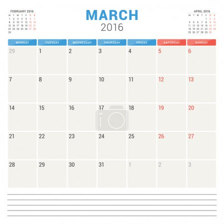Calendar Planner 2016. Vector Flat Design Template. March. Week Starts Monday