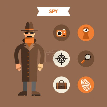 Flat Design Vector Illustration of Spy with Icon Set. Infographic Design Elements
