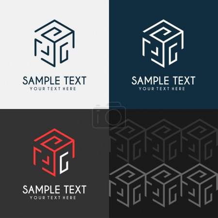 Illustration for Thin Line Design Template Logotype. Cube maze - Royalty Free Image