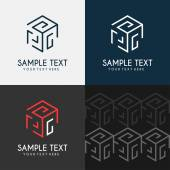 Thin Line Design Template Logotype Cube maze