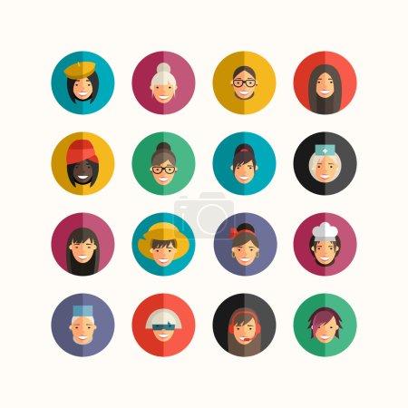 Flat Design Professional People Avatar Icon Set.  Women Set.  Cook, Teacher, Superwoman, Doctor, Dancer, Rocker, Waitress, Farmer