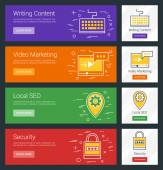 Writing Content Video Marketing Local SEO Security Flat Design Concept Set of Vector Web Banners