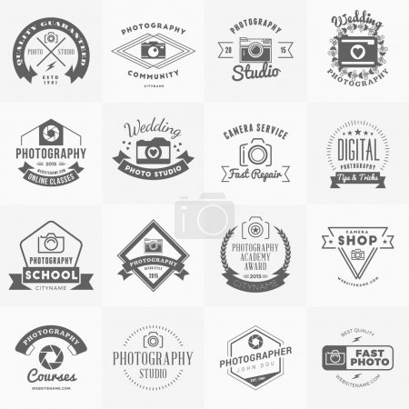 Illustration for Vector Set of Photography Logo Design Templates. Photography Retro Vintage Badges and Labels.  Wedding Photography. Photo Studio. Camera Shop. Photography Community - Royalty Free Image