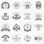 Vector Set of Photography Logo Design Templates Photography Retro Vintage Badges and Labels  Wedding Photography Photo Studio Camera Shop Photography Community