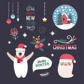 Set of Christmas and New Year Cute Hand Drawn Vector Decorative Design Elements with Cartoon Characters