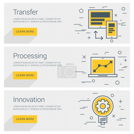 Transfer Data. Processing. Innovation. Line Art Flat Design Illustration. Vector Web Banners Concepts