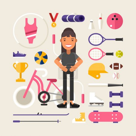 Set of Vector Icons and Illustrations in Flat Design Style. Female Cartoon Character Sportsman Surrounded by Sports Equipment