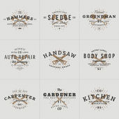 Set of Hipster Vintage Labels Logotypes Badges for Your Business Knife Axe Hammer Wrench Vector Illustration