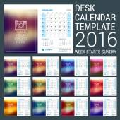 Desk Calendar for 2016 Year. Vector Stationery Design Template with Motivational Quote on the Blurred Background, Company Logo and Contact Information. Week Starts Sunday. 3 Months on Page