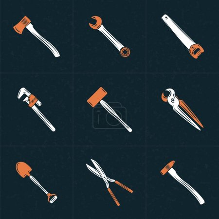 Set of Vector Retro Design Elements for Logotypes. Tools. Hacksaw, Adjustable Wrench, Hammer, Shovel, Scissors, Pliers, Ax, Wrench. Vector Illustration with White and Orange Elements on Dark Textured