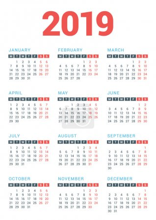 Calendar for 2019 Year on White Background. Week Starts Monday. Vector Design Print Template