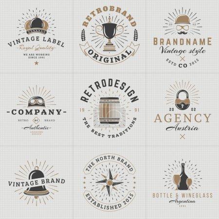 Set of Hipster Vintage Labels, Logotypes, Badges for Your Business. Crown, Helmet, Barrel, Lock, Bell, Star, Wine. Vector Illustration