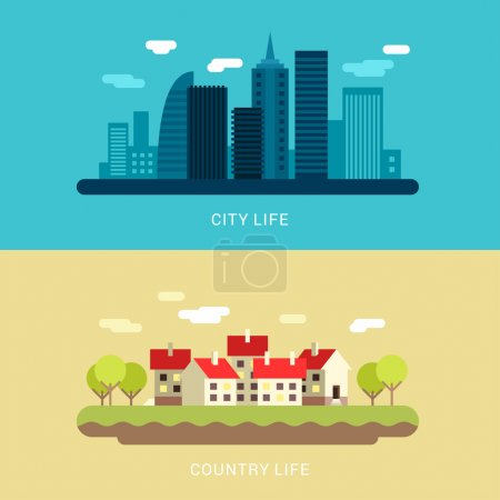 City Life and Country Life. Flat Style Vector Conceptual Illustration for Web Banners or Promotional Materials