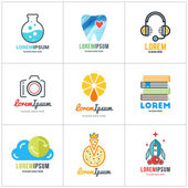 Set of Vector Coloful Logo Templates Lab Dentist Support Photographer Fresh Juice Bookstore Cloud Storage Pizza Launch