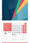 Calendar for 2016 Year May Vector Design Clean Template with Modern Abstract Background Logo and Place for Notes Week Starts Monday