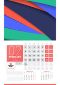 Calendar for 2016 Year February Vector Design Clean Template with Modern Abstract Background Logo and Place for Notes Week Starts Monday