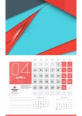 Calendar for 2016 Year April Vector Design Clean Template with Modern Abstract Background Logo and Place for Notes Week Starts Monday