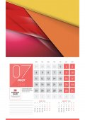 Calendar for 2016 Year July Vector Design Clean Template with Modern Abstract Background Logo and Place for Notes Week Starts Monday