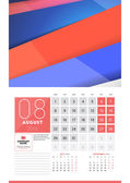 Calendar for 2016 Year August Vector Design Clean Template with Modern Abstract Background Logo and Place for Notes Week Starts Monday