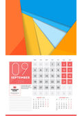Calendar for 2016 Year September Vector Design Clean Template with Modern Abstract Background Logo and Place for Notes Week Starts Monday