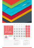 Calendar for 2016 Year October Vector Design Clean Template with Modern Abstract Background Logo and Place for Notes Week Starts Monday