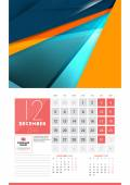Calendar for 2016 Year December Vector Design Clean Template with Modern Abstract Background Logo and Place for Notes Week Starts Monday
