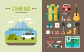 Camping Concept Set of Vector Illustrations and Icons in Flat Design Style for Web Banners or Promotional Materials