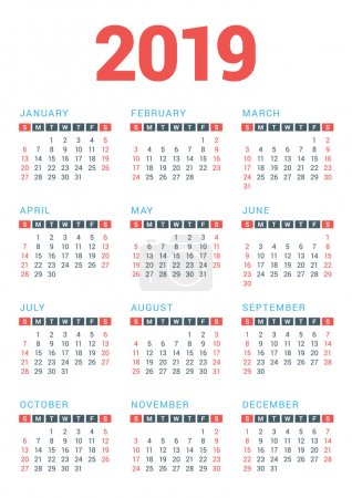 Calendar for 2019 Year on White Background. Week Starts Sunday. Vector Design Print Template