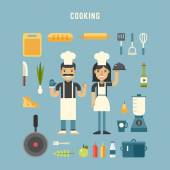 Set of Vector Icons and Illustrations in Flat Design Style Cooking Concept Male and Female Cartoon Character Chiefs Surrounded by Kitchen Appliances and Food