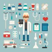 Set of Vector Icons and Illustrations in Flat Design Style Profession Medicine Doctor Male Cartoon Character Surrounded by Medical Appliances