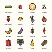 Set of Line Art Colorfull Icons. Healthy Vegetables and Fruits