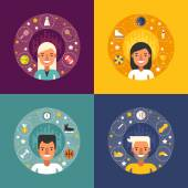 Set of Vector Illustrations in Flat Design Style Sport Icons and Objects in the Shape of Circle Sportsman Cartoon Characters