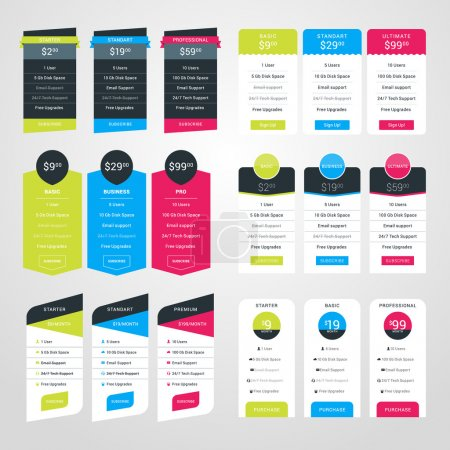 Set of Pricing Table Design Templates for Websites and Applications. Flat Style Vector Illustration