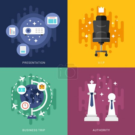 Photo for Set of Business Concepts. Presentation, VIP, Business Trip, Authority. Vector Illustration in Flat Design Style - Royalty Free Image