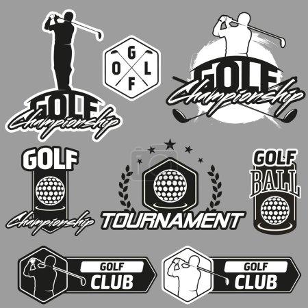 vintage golf labels, badges and emblems