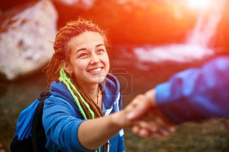 hiker woman getting help