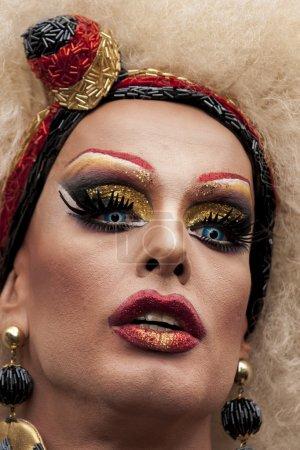 Elaborately dressed transgender, during Christopher Street Day P