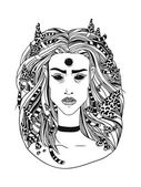 Hand drawn illustration young forest witch black contour