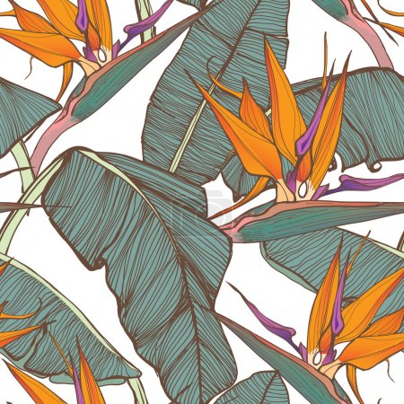 Illustration for Tropical palm leaves seamless background, tropical leaves - Royalty Free Image